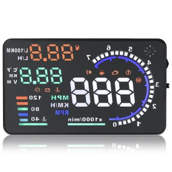 A8 5.5 inch Car HUD Head Up Display Vehicle Speed Engine Speed Water Temperature Display for OBD II EUOBD System Vehicle