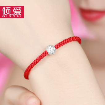 AdimRe Korean-style female red string lucky beads sterling silver bracelet