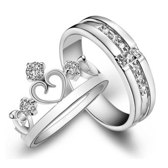 Adjustable Couple Rings 925 Silver Romentic Lover Ring Jewelry E002 - intl