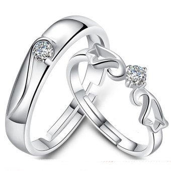 Adjustable Couple Rings 925 Silver Romentic Lover Ring Jewelry E007 - intl - 3