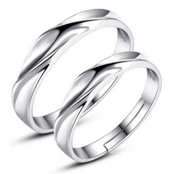 Adjustable Couple Rings 925 Silver Romentic Lover Ring Jewelry E009 - intl - 2