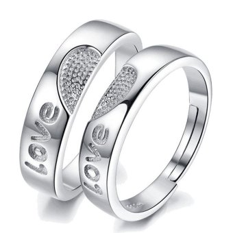 Adjustable Couple Rings 925 Silver Romentic Lover Ring Jewelry E009 - intl