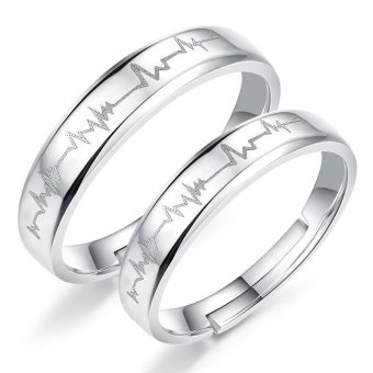 Adjustable Couple Rings 925 Silver Romentic Lover Ring Jewelry E017 - intl