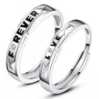 Adjustable Couple Rings 925 Silver Romentic Lover Ring Jewelry E023 - intl