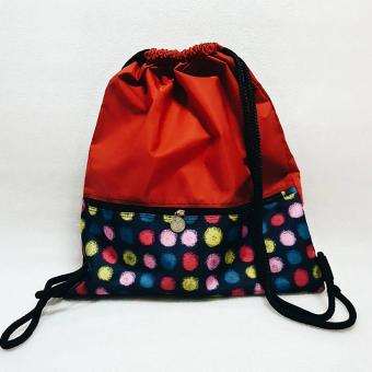 Adventure Draw String bag Leo Red Polka