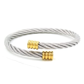 Alix Twisted Silver Cable Wire Gold End Cuff Bracelet