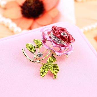 Allwin Luxury Elegant Women Rhinestone Crystal Rose Flower Brooch Pin Brooches