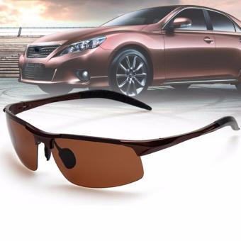 Aluminum Magnesium Alloy Polarized Sunglass For Men Outdoor Sport Driving Male Sun Glasses (Brown) - 2