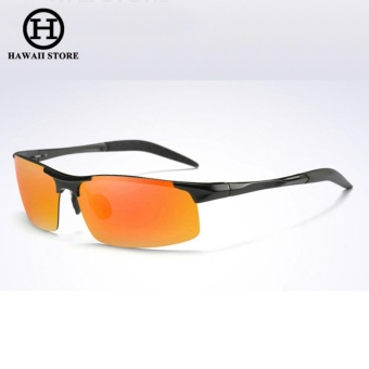 Aluminum Magnesium Alloy Polarized Sunglass For Men Outdoor Sport Driving Male Sun Glasses Rectangle Rimless Shades (Red Orange)