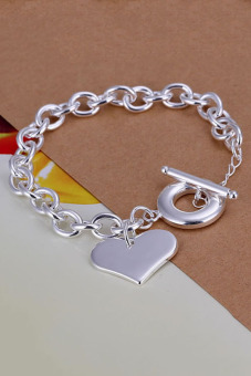 Amango 925 Silver Plated Heart Bracelet TO Bulck Bangle Silver