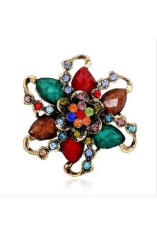 Amango Women Vintage Brooch Pin Flower Shape Colorful - intl