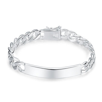 Amart Jewelry 925 Sterling Silver 10MM Flat Side Chain Bracelet For Unisex Man