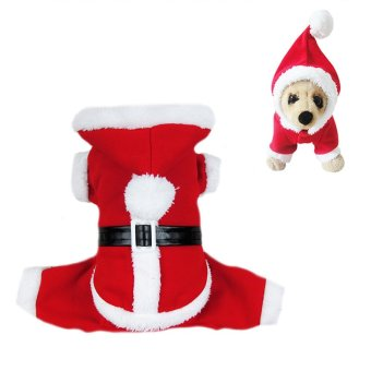 Amart Pet Dogs Christmas Santa Claus Hooded Costume Clothes(Size:L) - intl