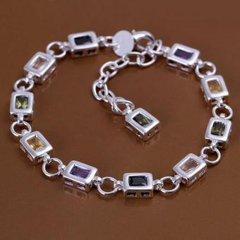 Amart Women Jewelry 925 Sterling Silver Square Colorful Stone Chain Bracelet