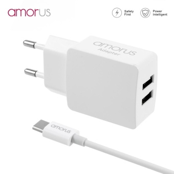 AMORUS NW01 2.1A Dual USB Travel Charger Adapter + USB Type-C Cablefor Samsung Galaxy S8/S8 Plus Etc - EU Plug - intl