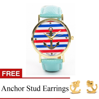 Anchor Faux Leather Watch with Free Stainless Steel Anchor Earrings