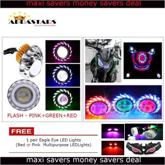 Angel Devil Eyes Dual Halo Motorycle Headlights Projetor Lamp LEDHi / Lo (Flash-Pink/Green/Red) Circle for Yamaha Mio Sporty