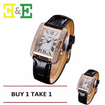 ANGEL Diamond Women Fashion Leather Strap Quartz Watch (Black) Buy One Take One