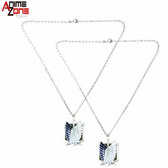 Anime Attack on Titan Survey Corps Anime Zone Couple Pendant Necklace (Silver)