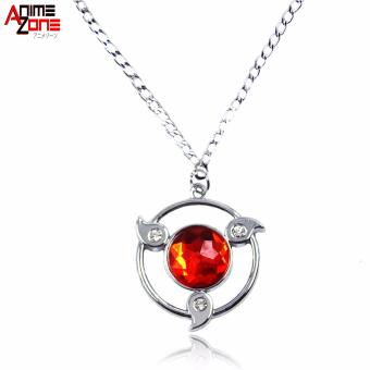 Anime Naruto Shippuden Sharingan Fashionable Pendant Necklace (Silver/ Red)