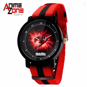 ANIME ZONE Fairy Tail Emblem Trendy Nylon Strap Anime Watch(Red/Black)