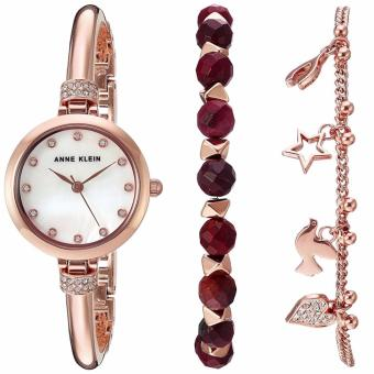 Anne Klein Swarovski Crystal Accented Rose Gold-Tone Bangle and RedJasper Beaded Bracelet Set AK-2840RJAS Watch for Women Price Philippines