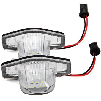 Ansee 12V SMD 3528 White Light 18 LEDs License Plate Lamp for Honda CR - V Fit Jazz - 2pcs