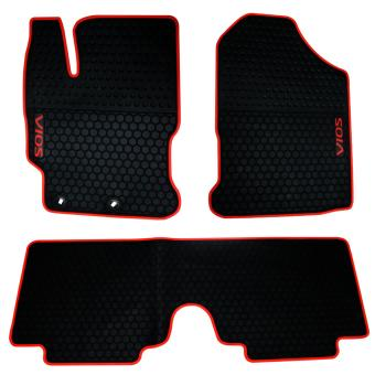Anti-Slip Rubber Matting for Toyota Vios 2013-2017 (Red Lining)