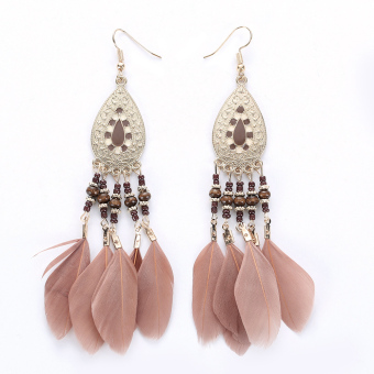 Antique Bohemia Beads Tassel Vintage Drop Leaves Earrings (Light Coffee) - intl