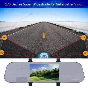 Anytek A80+ 1080P HD 5 Inch Dual Lens Car DVR Camera Video Recorder Rearview Mirror Camcorder - intl