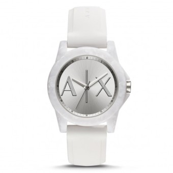 Armani Exchange Unisex White Silicone Strap Watch AX4339