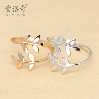 A'ROCH Korean-style female olive branch open ring silver ring