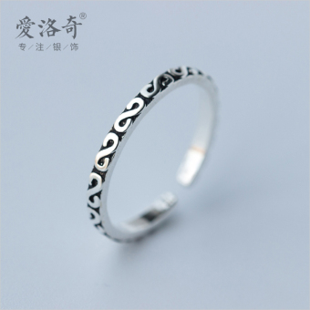 A'ROCH retro women's Thai silver lettered tail ring silver ring