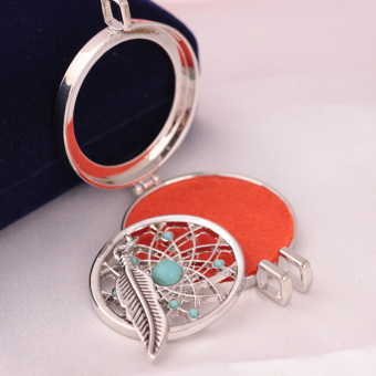 Aromatherapy Essential Oil Feather Turquoise Diffuser LocketNecklace with Pads - intl - 5
