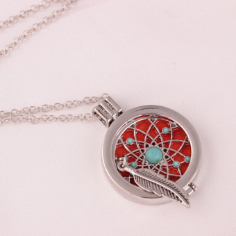 Aromatherapy Essential Oil Feather Turquoise Diffuser LocketNecklace with Pads - intl - 2