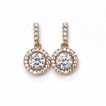 Athena & Co. 18K Gold Plated Diamond Halo Drop Earrings