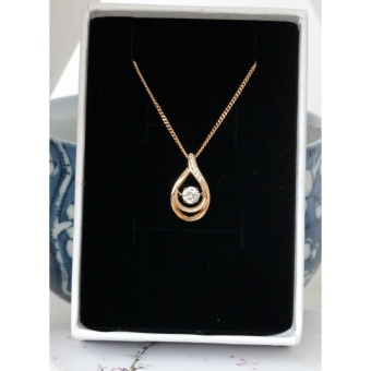 Athena & Co. 18K Gold Plated Keira Open Teardrop Diamond Pendant Necklace