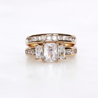 Athena & Co. 18K Gold Plated Melody Engagement Ring & Wedding Band Set