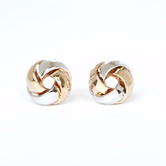 Athena & Co. 18K Gold Plated Mini Love Knot Earrings - Two Tone