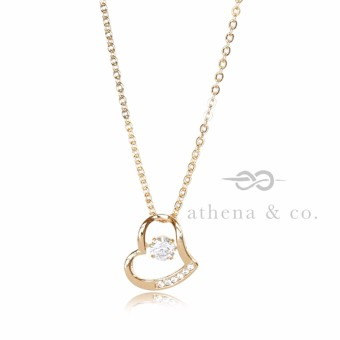 Athena & Co. 18K Gold Plated Sabrina Open Heart Diamond Pendant Necklace