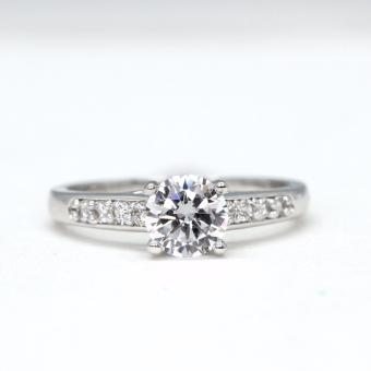Athena & Co. 18K White Gold Plated Alexa Diamond Engagement Wedding Ring