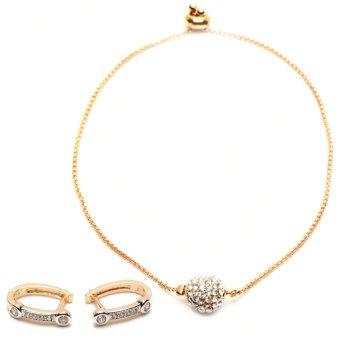 Athena & Co. 22k Audrey Earrings (Rose Gold) and Athena &Co. Disco Ball Bracelet (Gold) Bundle