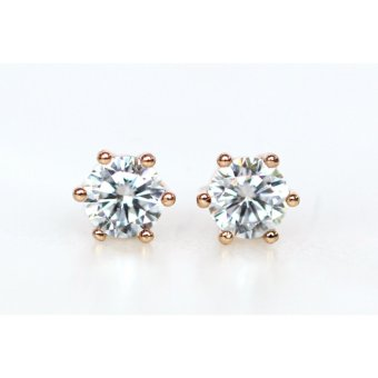 Athena & Co 22k Gold Plated Diamond Stud Earrings