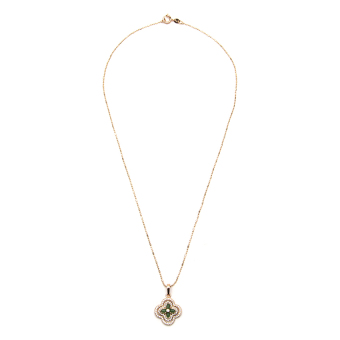 Athena & Co. 22k Gold Plated Jade Flower Necklace (Rose Gold)