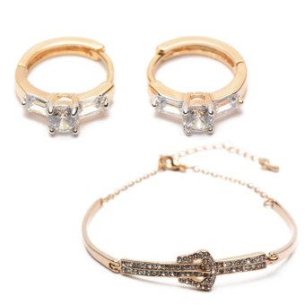 Athena & Co. 22k Natalie Earrings (Rose Gold) and Athena &Co. Belt Buckle Bracelet (Rose Gold) Bundle