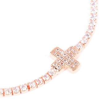 Athena & Co. Cross Toggle Bracelet (Rose Gold) - 2