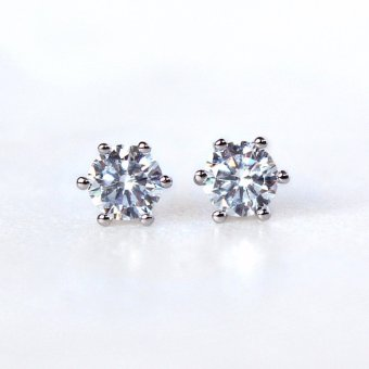 Athena and Co. 18k White Gold Plated Diamond Stud Earrings
