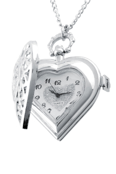 Aukey Hollow Heart-Shape Pendant Necklace Chain Pocket Watch