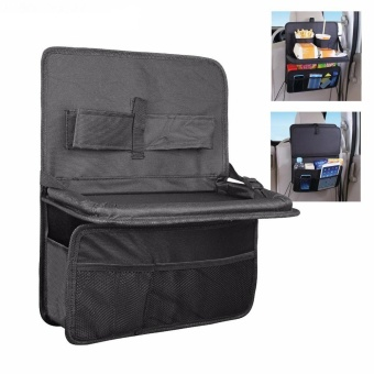 Auto Car Seat Back Organizer With Foldable Food Tray Table MeshPockets Drinks Holder Waterproof Multi