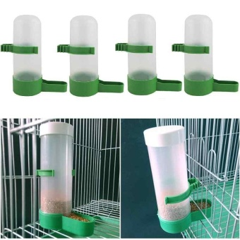 Automatic 4PCS Bird Pet Drinker Food Feeder Waterer for BudgieLovebirds Dove - intl